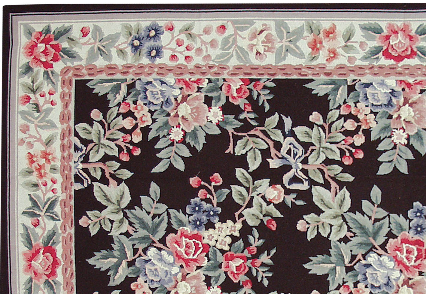 Rra 6x9 Fine Needlepoint Allover Floral Design Black Rug