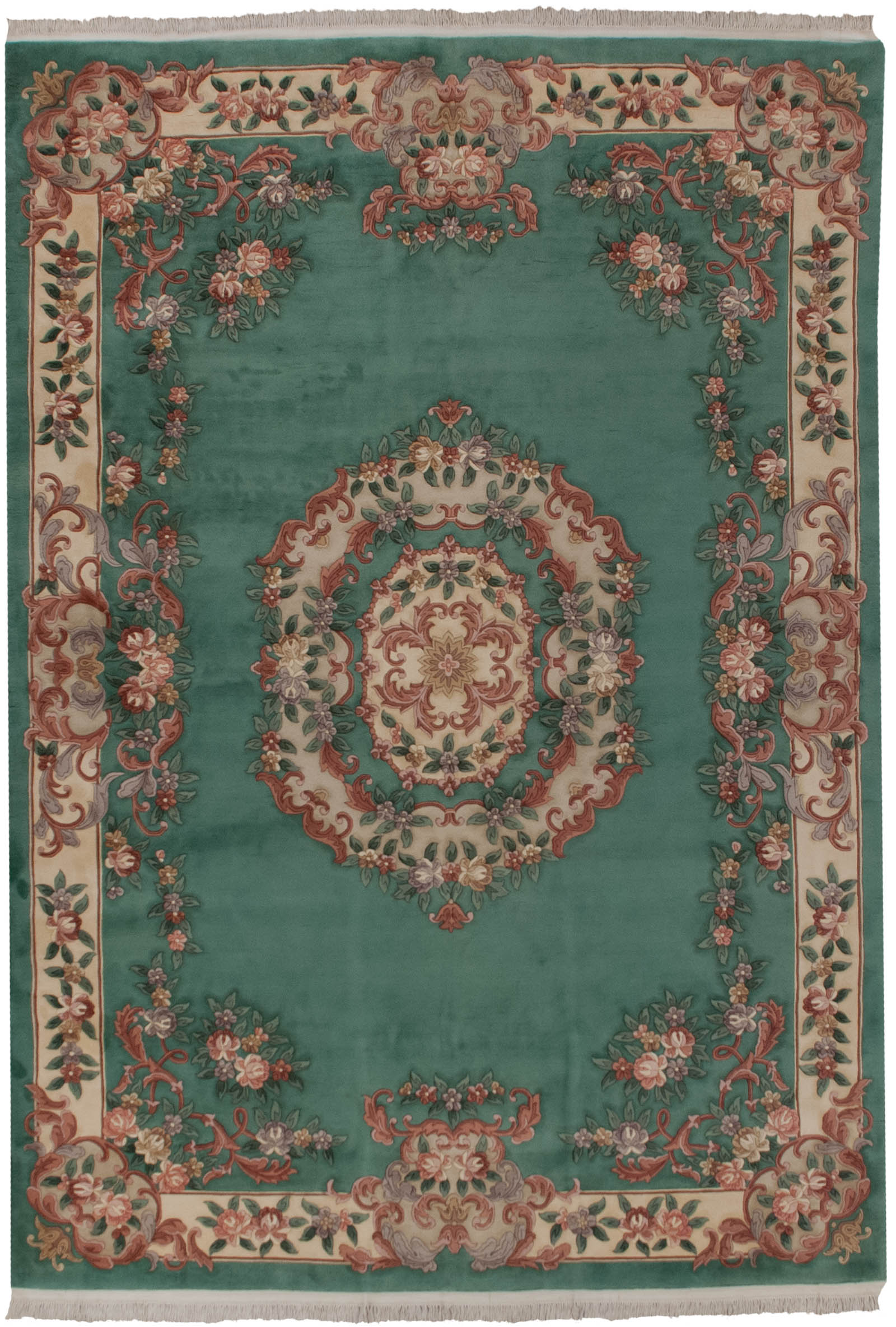 Rra 10x14 French Aubusson Pistachio Green Carved Rug 19085
