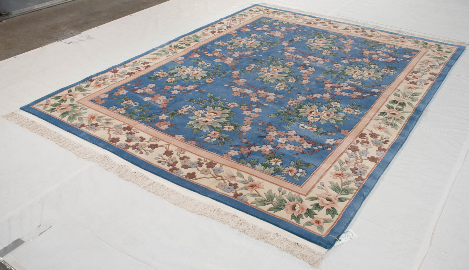Rra 8x10 Chinese 120 Line Floral Design Light Blue Rug